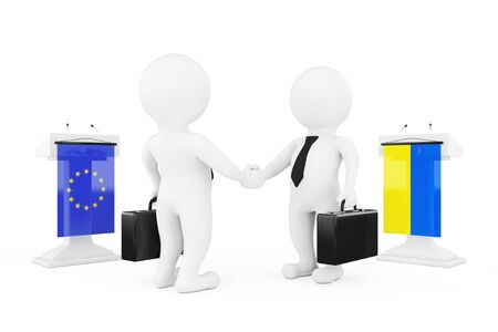 politicians: 3d Businessman or Politicians Characters Shaking Hands near Tribunes with Ukraine and European Union Flags on a white background. 3d Rendering Stock Photo