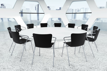 round table: Abstract Bright Office Meeting Room extreme closeup. 3d Rendering