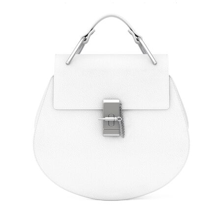 leather bag: Luxury White Leather Women Bag on a white background. 3d Rendering