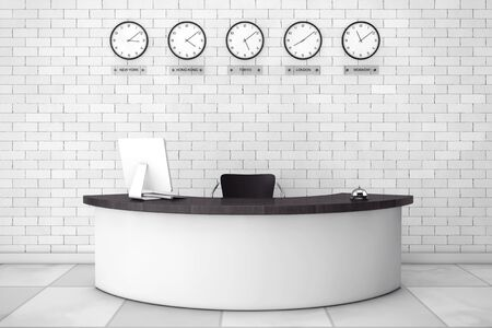 reception desk: Office Lobby with a Reception Desk in front of brick wall. 3d Rendering Stock Photo