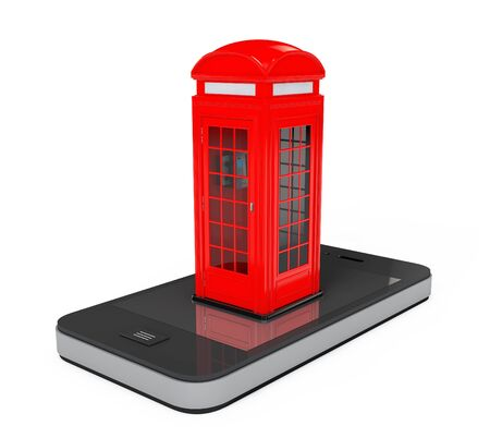 cell phone booth: Classic British Red Phone Booth over Mobile Phone on a white background. 3d Rendering Stock Photo