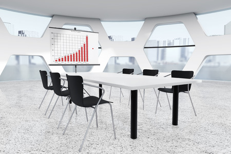 briefing: Abstract Bright Office Meeting Room extreme closeup. 3d Rendering