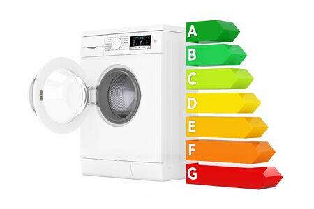 Washing Machine with Energy Efficiency Chart on a white background. 3d Rendering
