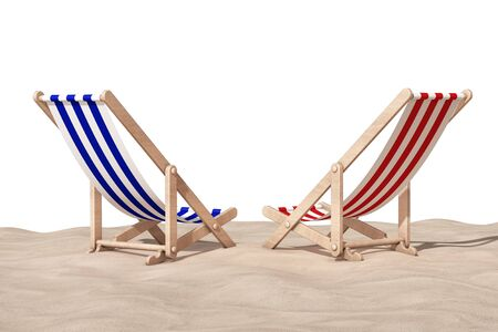 Beach Chairs on the Sand Sunny Beach on a white background. 3d Rendering