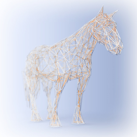 Abstract Wired Low Poly Horse on a blue background. 3d Rendering
