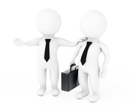 employ: Work with Us Concept. 3d Manager Employ the Skill on a white background. 3d Rendering Stock Photo