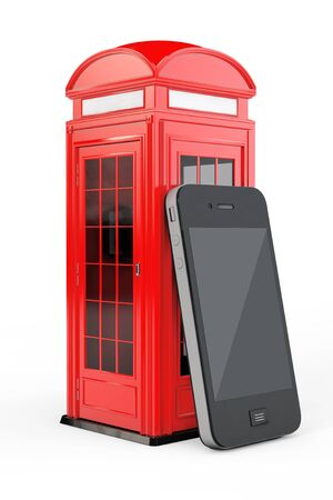 cell phone booth: Classic British Red Phone Booth with Mobile Phone on a white background. 3d Rendering