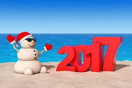 sandy: Sandy Christmas Snowman at Sunny Beach with 2017 Ney Year Sign extreme closeup. 3d Rendering