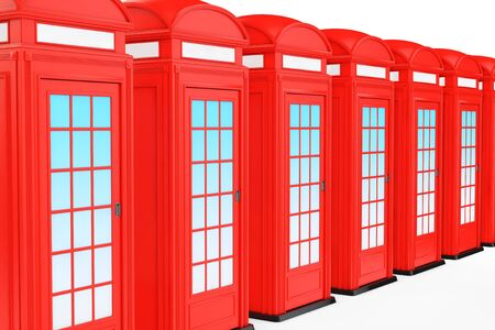 Classic British Red Phone Booth on a white background. 3d Rendering Stock Photo