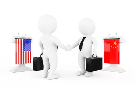 politicians: 3d Businessman or Politicians Characters Shaking Hands near Tribunes with China and USA Flags on a white background. 3d Rendering