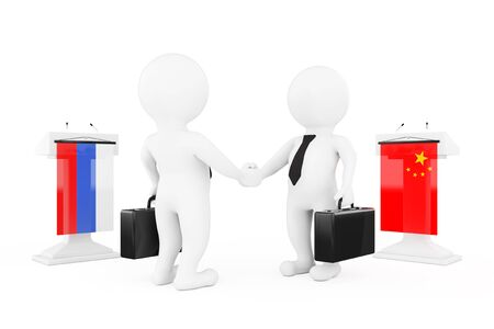 politicians: 3d Businessman or Politicians Characters Shaking Hands near Tribunes with China and Russian Flags on a white background. 3d Rendering