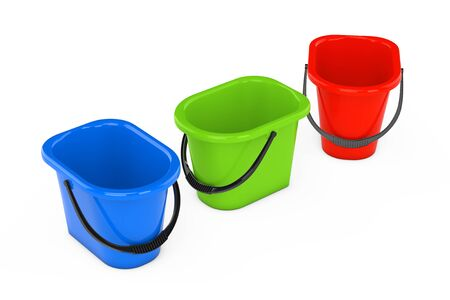 kitchen cleaning: Multicolour Plastic Buckets on a white background. 3d Rendering Stock Photo