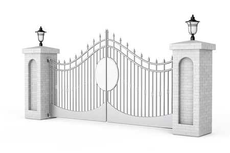 Decorative Steel Gate with Brick Pillars and Lights on a white background. 3d Rendering