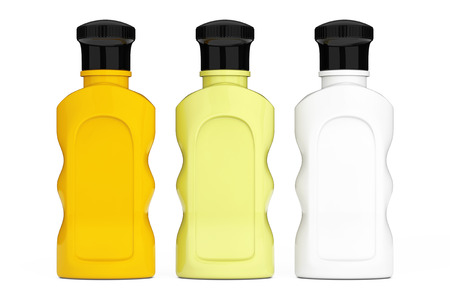 Blank Multicolour Hotel Cosmetic Bottles on a white background. 3d Rendering Stock Photo