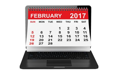 february calendar: 2017 year calendar. February calendar over laptop screen on a white background. 3d rendering