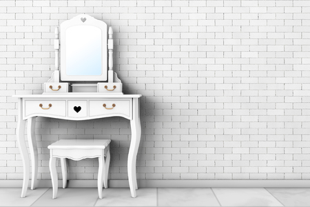 console table: Antique Bedroom Vanity Table with Stool and Mirror in front of brick wall. 3d Rendering Stock Photo