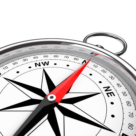 Modern Compass Closeup on a white background. 3d Rendering Stock Photo