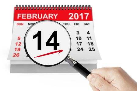 february calendar: Valentines Day Concept. 14 February Calendar with Magnifier on a white background