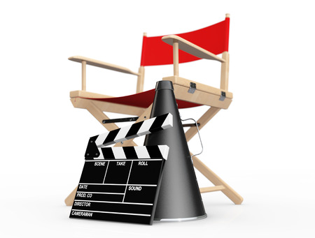 Cinema Industry Concept. Red Director Chair, Movie Clapper and Megaphone on a white background. 3d Rendering Stock Photo