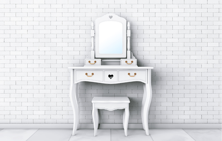 Antique Bedroom Vanity Table with Stool and Mirror in front of brick wall. 3d Rendering Stock Photo