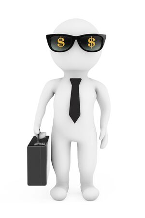 3d Businessman in Sunglasses with Dollar Sign on a white background. 3d Rendering Stock Photo