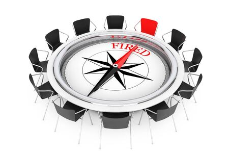 dismiss: Compass over Round Table show to Fired Person Chair on a white background. 3d Rendering