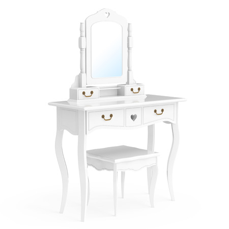 Antique Bedroom Vanity Table With Stool And Mirror On A White.. Stock  Photo, Picture And Royalty Free Image. Image 68413735.