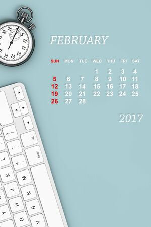 february calendar: 2017 year calendar. February calendar with Stopwatch and Keyboard. 3d Rendering