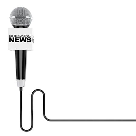 record breaking: Microphone with Breaking News Box Sign and Free Space for Your Text on a white background. 3d Rendering Stock Photo