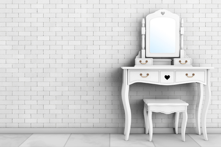 wine  shabby: Antique Bedroom Vanity Table with Stool and Mirror in front of brick wall. 3d Rendering Stock Photo