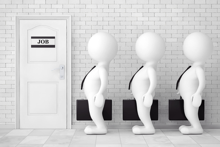 que: 3d Persons in Line Waiting for Job Interview in front of brick wall. 3d Rendering