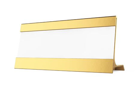 assign: Golden Horizontal Blank Table Card Tag on a white background. 3d Rendering