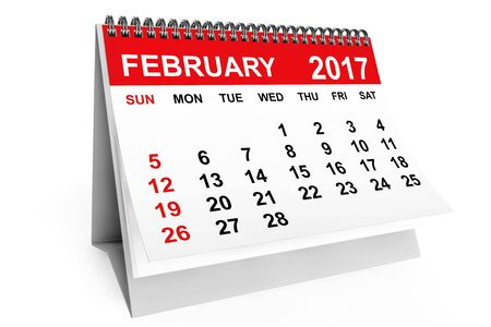 february calendar: 2017 year calendar. February calendar on a white background. 3d rendering