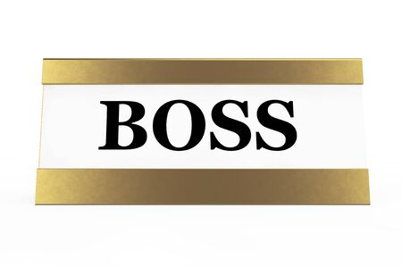 Golden Boss Identification Plate on a white background. 3d Rendering
