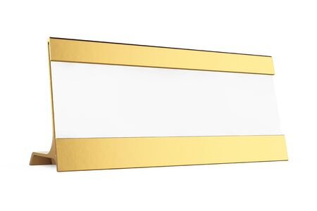 placecard: Golden Horizontal Blank Table Card Tag on a white background. 3d Rendering