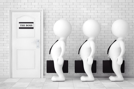 waiting line: 3d Persons in Line Waiting for Boss Interview in front of brick wall. 3d Rendering