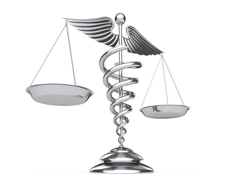 Silver Medical Caduceus Symbol as Scales on a white background. 3d Rendering