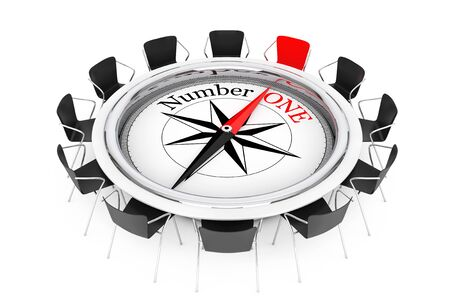 Compass over Round Table show to Number One Person Chair on a white background. 3d Rendering