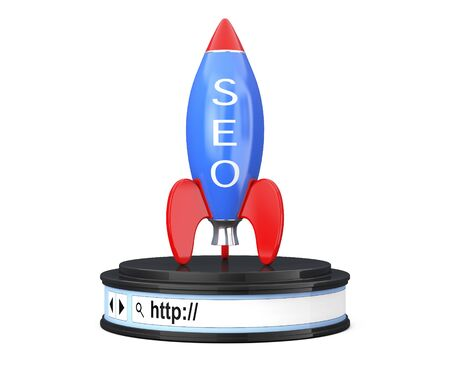 Rocket with SEO Sign over Browser Address Bar as Round Platform Pedestal on a white background. 3d Rendering Stock Photo
