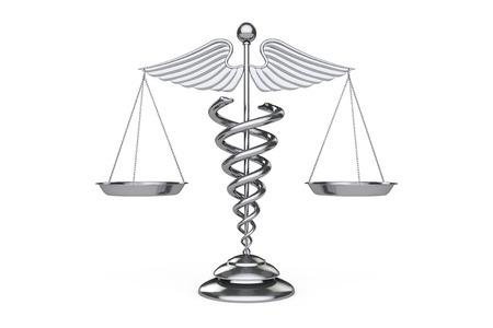Medische Caduceus als Scales op een witte achtergrond. 3D-rendering
