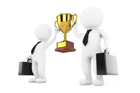 accolade: 3d Businessmans Persons with a Gold Trophy in Hands on a white background. 3d Rendering