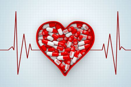Red Heart Box with Pills on a Cardiogram Background extreme closeup. 3d Rendering. Stock Photo