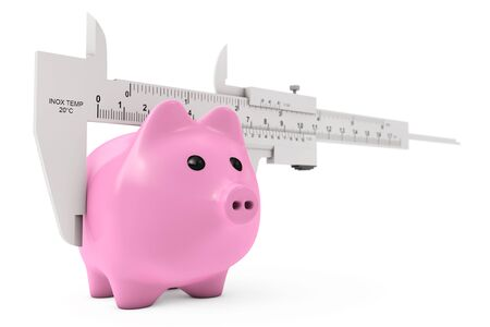 sliding caliper: Size of Savings Concept. Piggy Bank with Vernier Caliper Sliding Gauge on a white background. 3d Rendering.