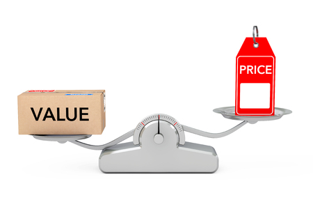 valuation: Price Tag with Value Box Balancing on a Simple Weighting Scale on a white background. 3d Rendering. Stock Photo