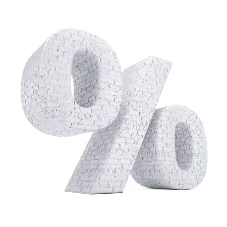 Percent Symbol as Brick Wall on a white background. 3d Rendering.