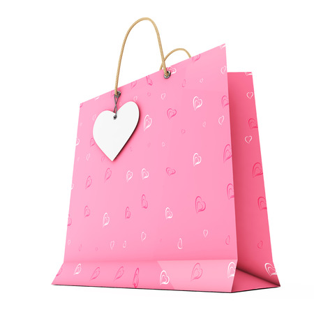 Pink Paper Shopping Bag with White Heart Label on Rope on a white background. 3d Rendering