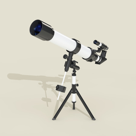 ocular: Flat Telescope with Long Hard Shadow on a grey background. 3d Rendering