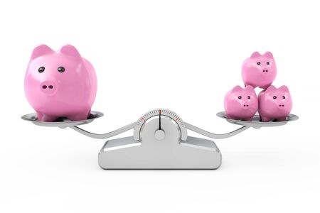Piggy Banks over Simple Balance Weighting Scale on a white background. 3d Rendering. 3d Rendering Фото со стока