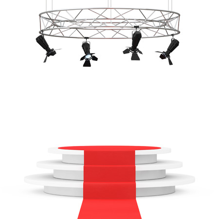 exclusive photo: Metal Modern Stage Spotlight Construction with Red Carpet to Podium on a white background. 3d Rendering