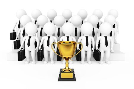 Golden Trophy in front of 3d Businessman Team Characters on a white background. 3d Rendering